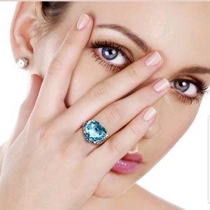 New 2.2ct Heart Aquamarine Women 925 Silver Ring